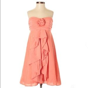 J. Crew coral strapless dress with flower/ruffles